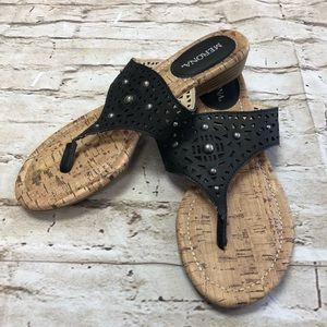 MERONA Women's Sandals Black Thong Toe SZ 5.5 NWOT